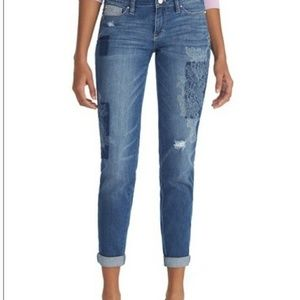 WHBM distress and floral desing wash jeans